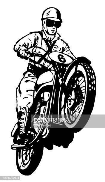ilustraciones, imágenes clip art, dibujos animados e iconos de stock de salto de bicicleta hombre de suciedad - motocross