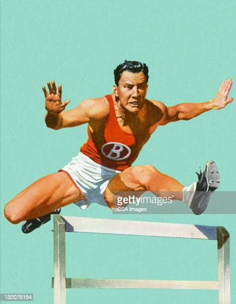 man jumping hurdles - hurdle stock illustrations