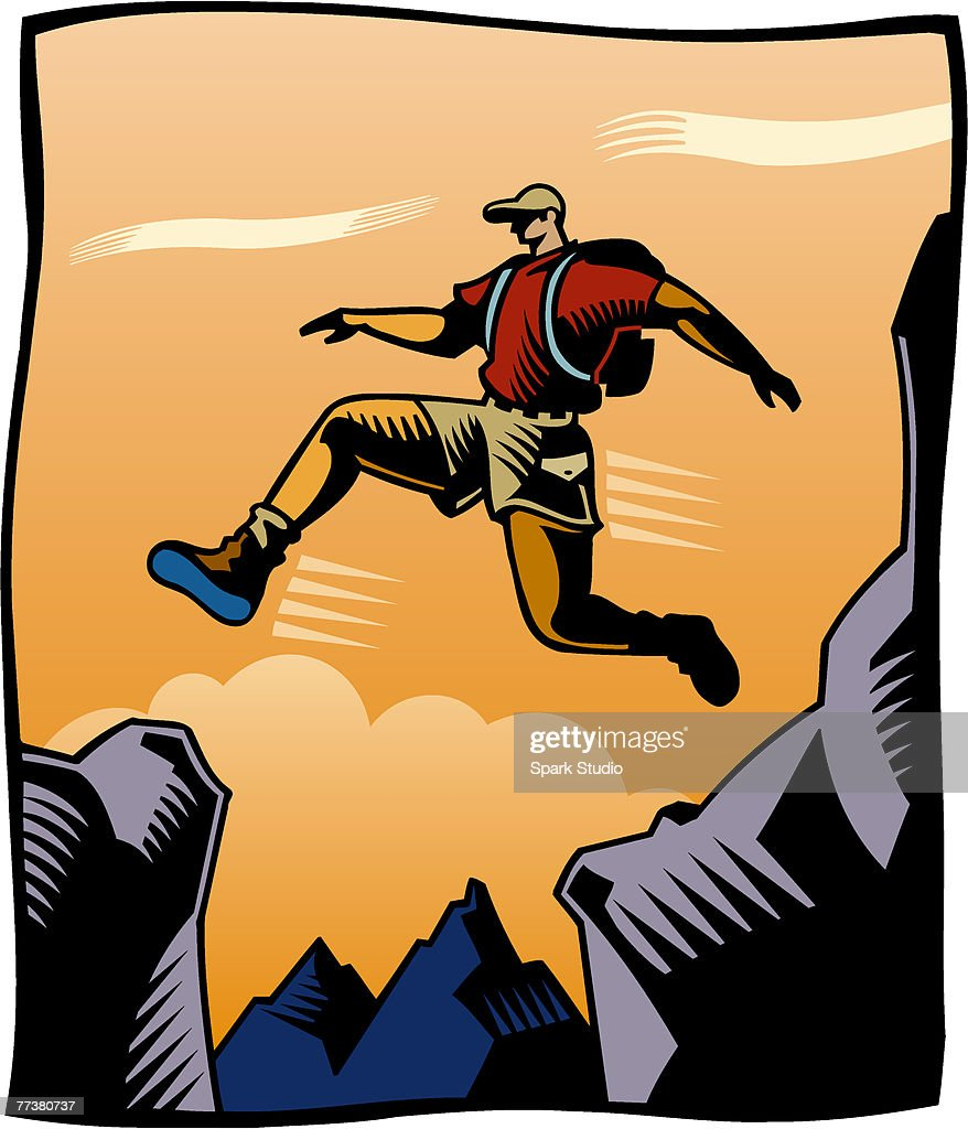 A man jumping over a crevasse : Illustration