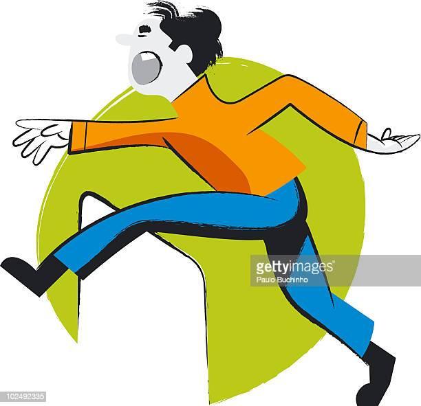 Man jumping over hurdle