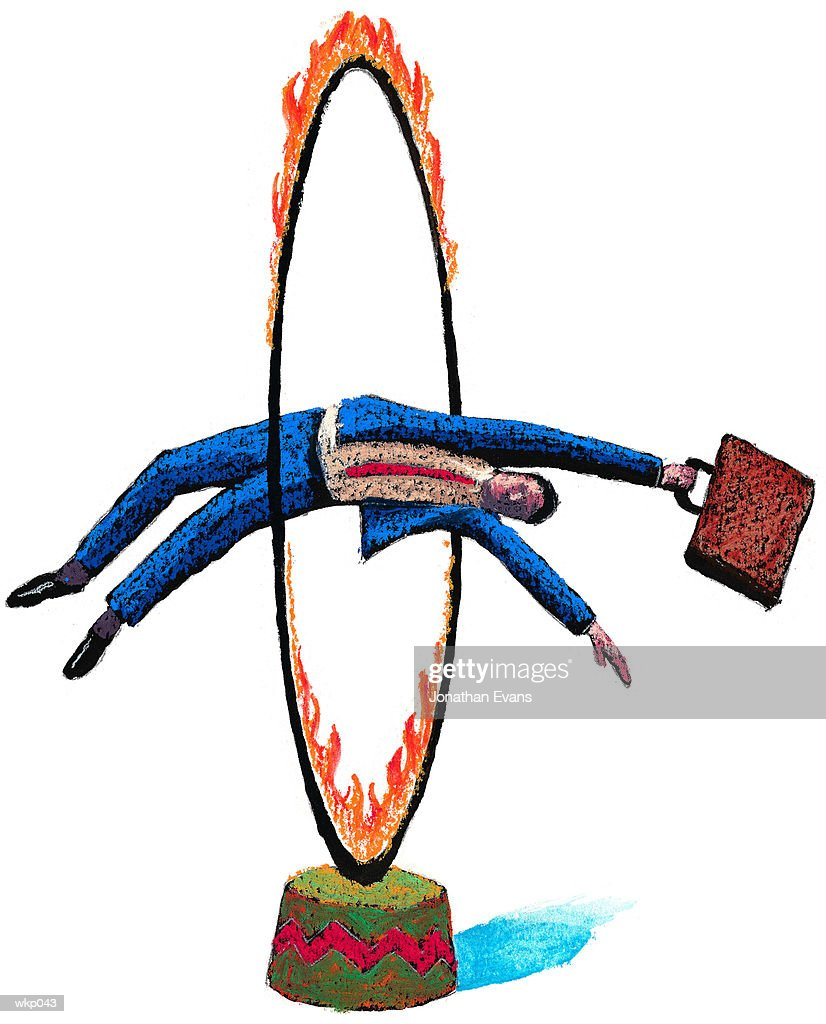 Man Jumping Through Hoop : Stock Illustration