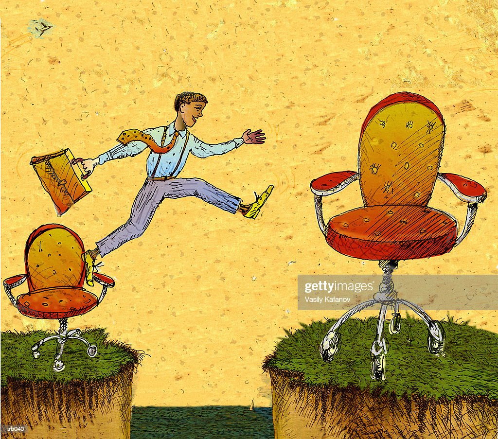 Man Jumping to Bigger Chair : Ilustración de stock