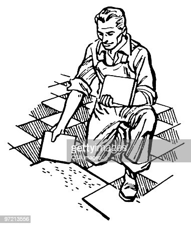 man laying tile stock illustration getty images