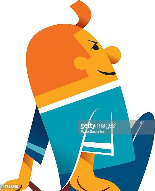 ilustrações de stock, clip art, desenhos animados e ícones de a man leaning back against white background - buchinho