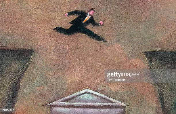 Man Leaping Across Chasm