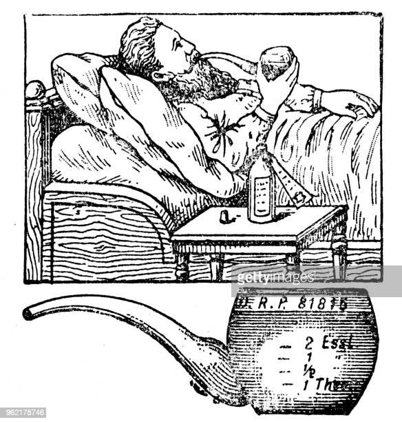 man lies in bed, smokes a pipe - pipe smoking pipe stock illustrations, clip art, cartoons, & icons