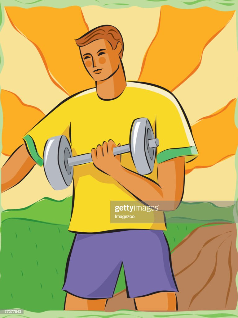 Man lifting weights : Illustration
