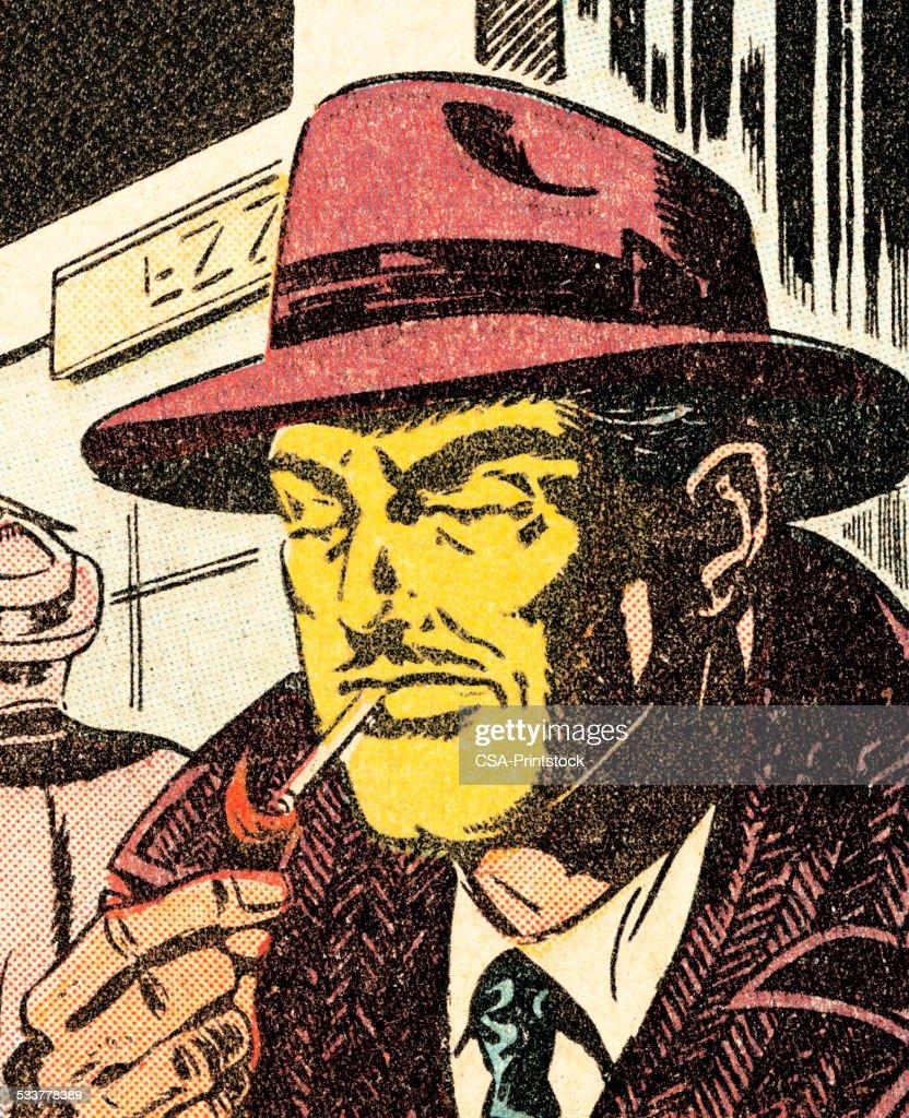Uomo illuminazione a sigaretta : Illustrazione stock