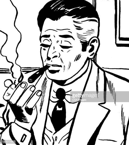 man lighting cigar - igniting stock illustrations
