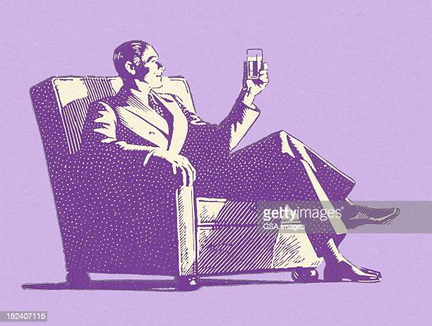 man looking at drink - whiskey stock illustrations