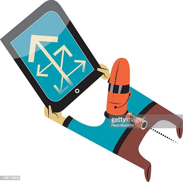 ilustrações de stock, clip art, desenhos animados e ícones de a man looking at hand held device - buchinho