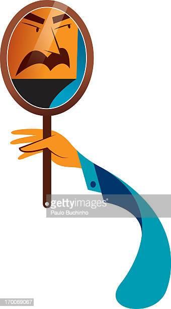 ilustrações de stock, clip art, desenhos animados e ícones de a man looking at her reflection in the mirror - buchinho