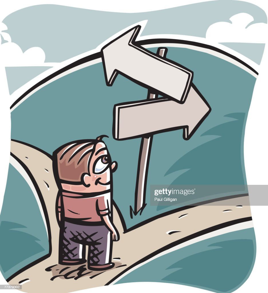 A man looking at the arrows and deciding which path to take : Illustration