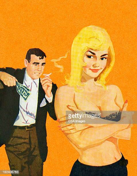 man looking at topless woman - smoking issues stock illustrations, clip art, cartoons, & icons
