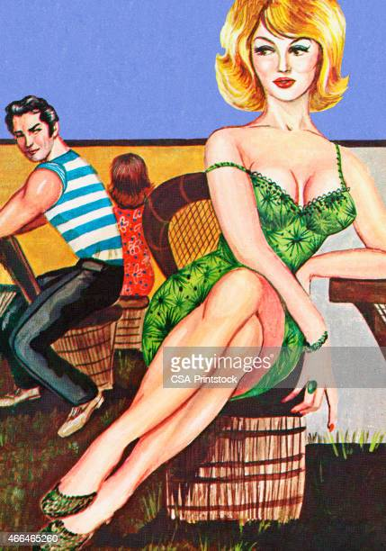 Man Looking at Woman in Green Dress