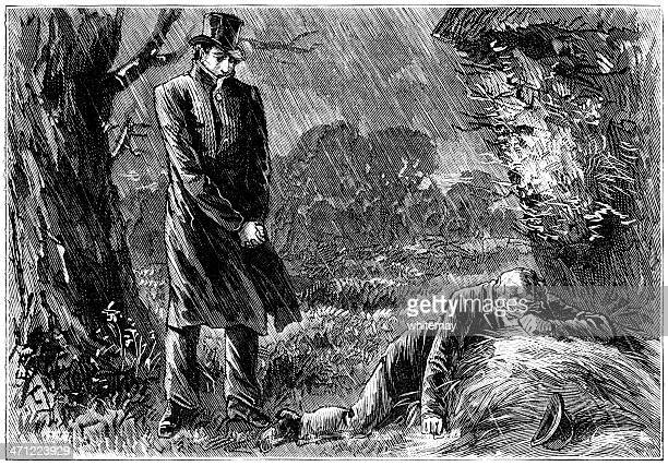 man looking at youth lying on the ground (victorian illustration) - overcoat stock illustrations