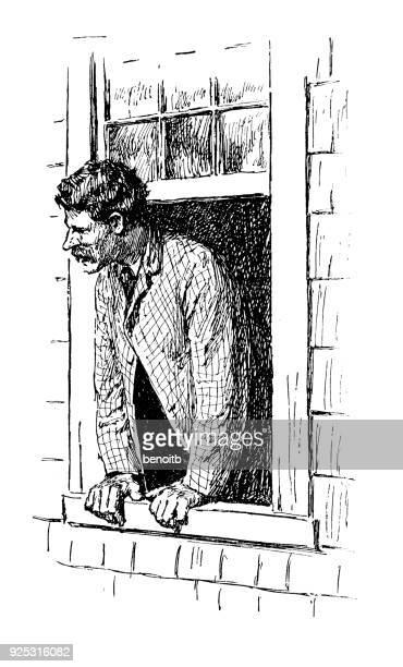 男性窓の外
