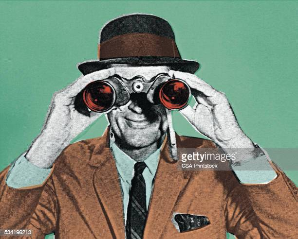 mann, blick durch das fernglas - detektiv stock-grafiken, -clipart, -cartoons und -symbole