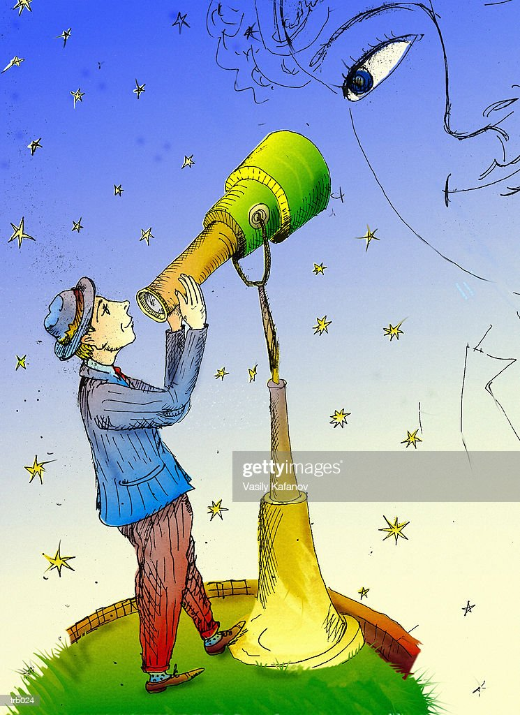 Man Looking Through Telescope : Stock Illustration