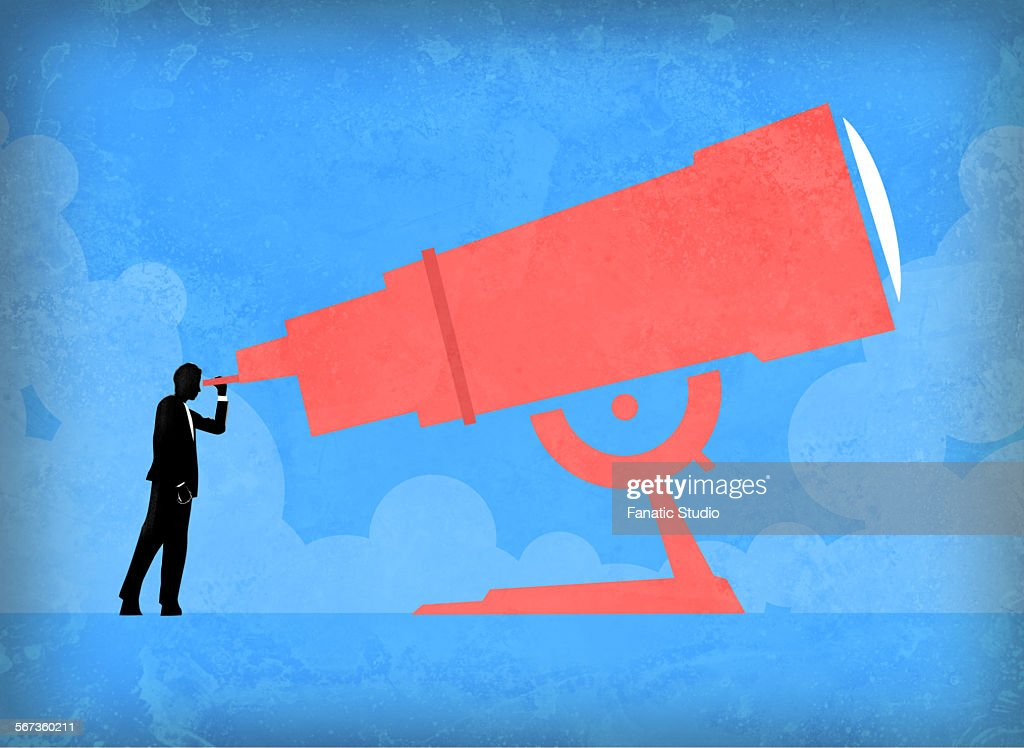 Man looking through telescope to check market trend : stock illustration