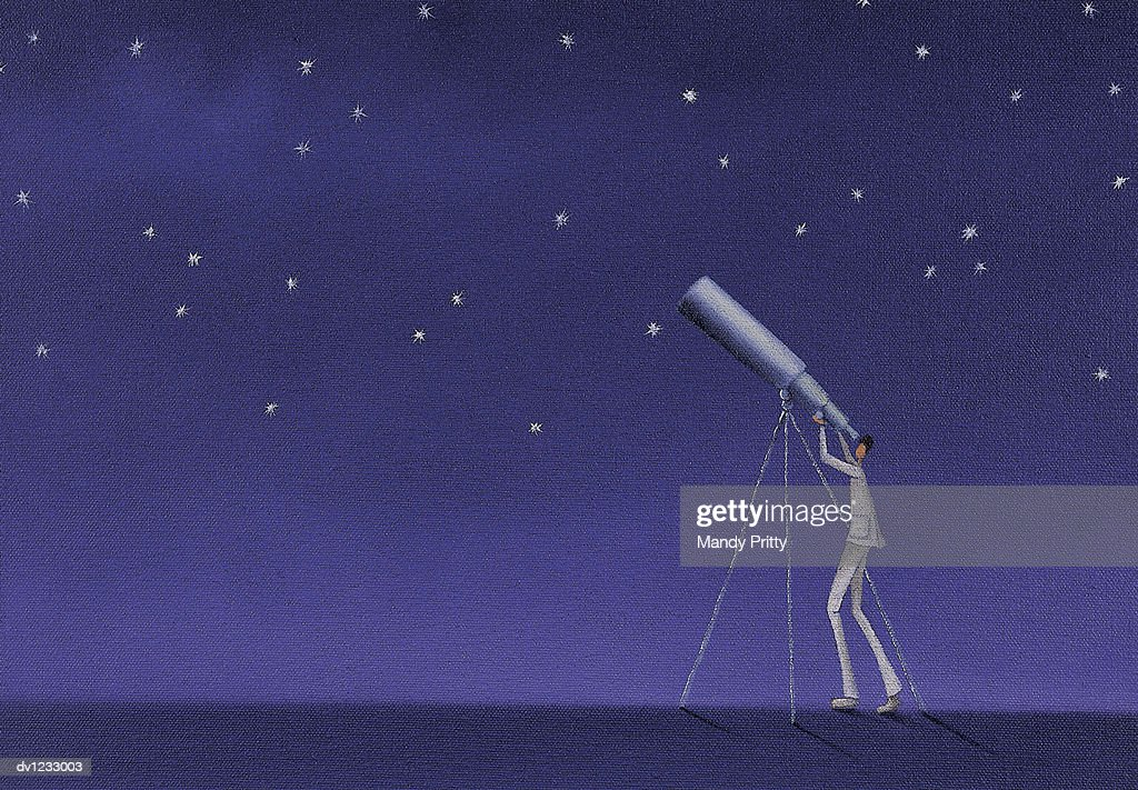 Man Looking Up at Stars With a Telescope : Stock Illustration