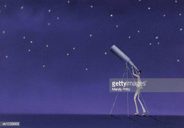 man looking up at stars with a telescope - mandy pritty stock illustrations