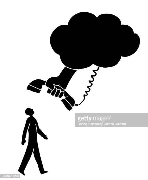 Man looking up at telephone and cloud