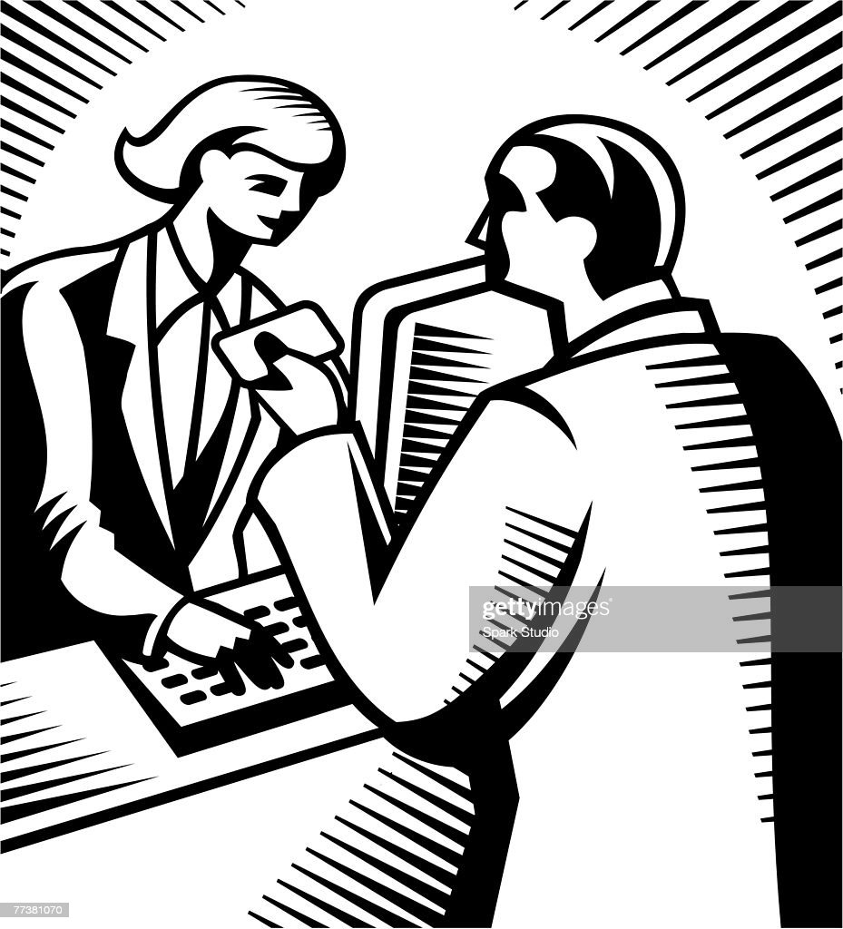 A man making a purchase with a credit card represented in black and white : stock illustration