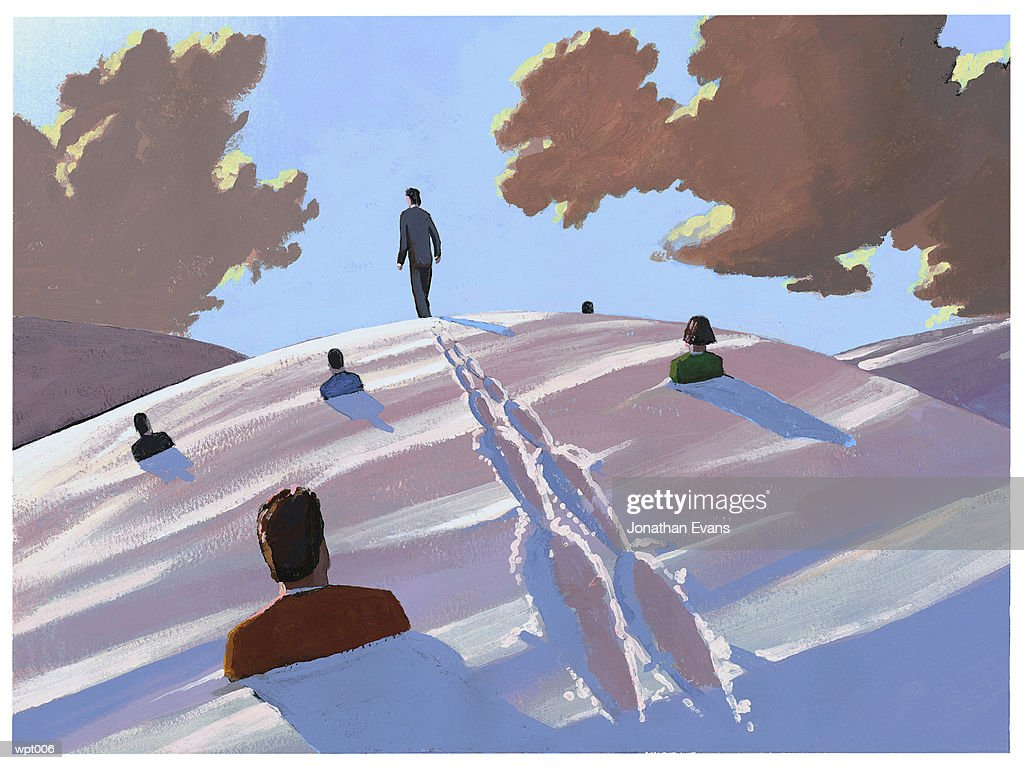 Man Making Tracks : Illustrazione stock