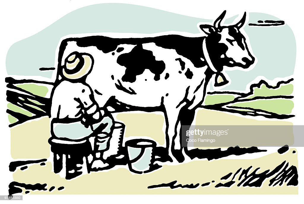 A man milking a cow in a field : stock illustration