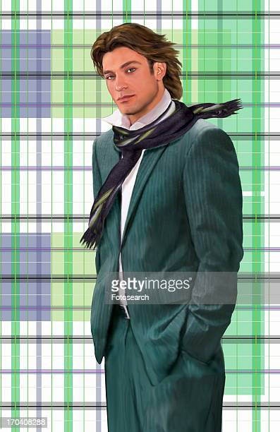 Man modeling a pinstriped suit and a scarf