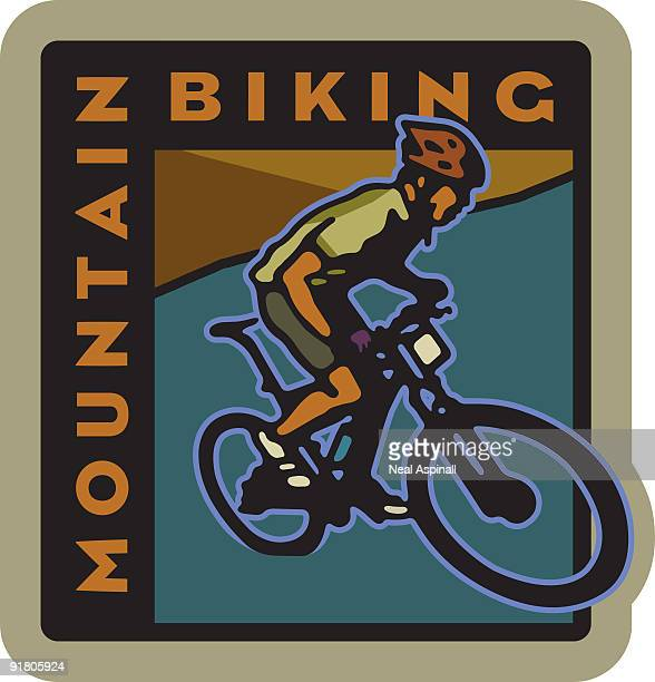ilustraciones, imágenes clip art, dibujos animados e iconos de stock de a man mountain biking and text - mountain bike