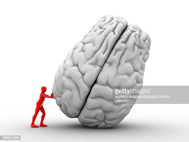 stockillustraties, clipart, cartoons en iconen met 3d man moving brain, artwork - ziekte van alzheimer