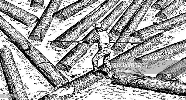 Man Moving Logs in River
