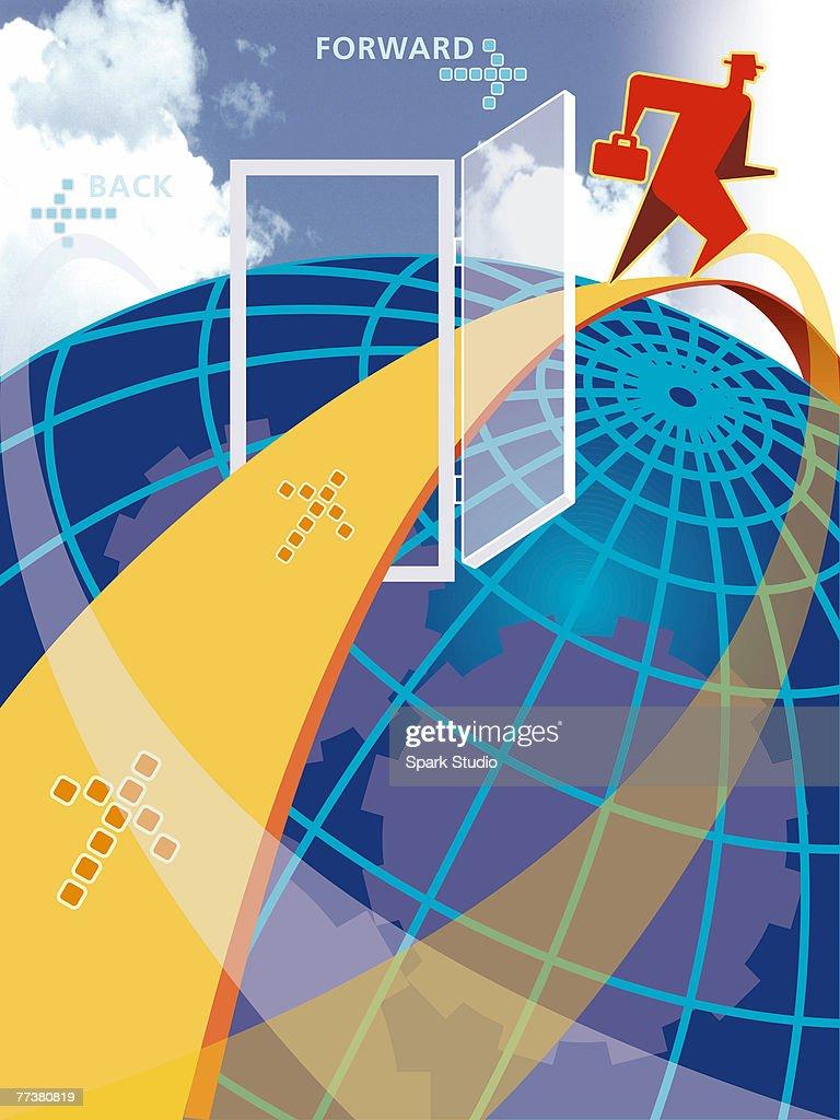 A man navigating through the internet : Illustration