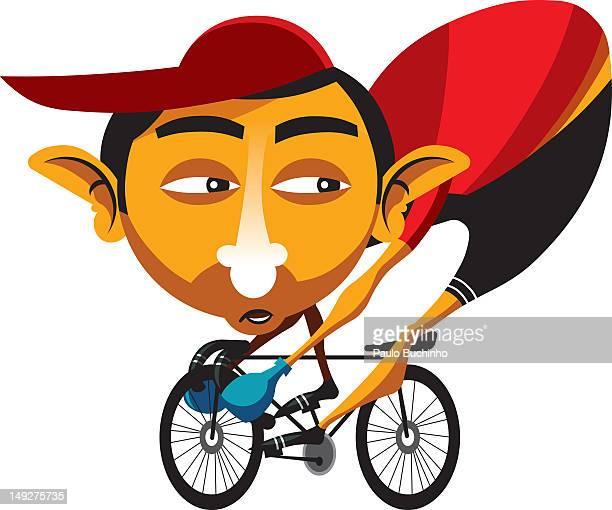 ilustrações de stock, clip art, desenhos animados e ícones de a man on a bike - buchinho