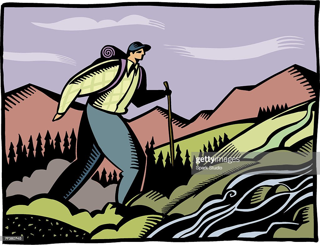 A man on a hiking trip : Illustration