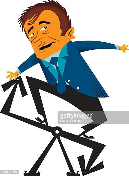 ilustrações de stock, clip art, desenhos animados e ícones de a man on a teeter totter made of arrows - buchinho