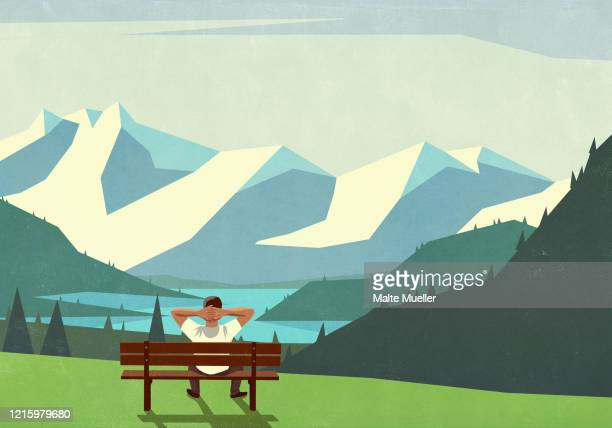 man on bench enjoying scenic mountain landscape view - wellness stock illustrations