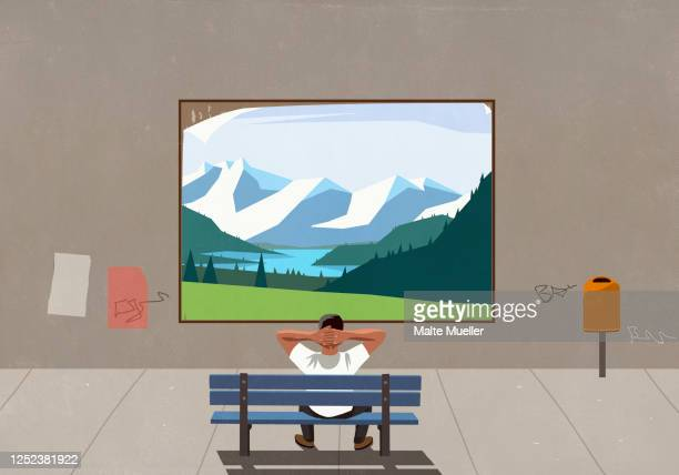 man on bench watching landscape on urban billboard - rear view stock illustrations