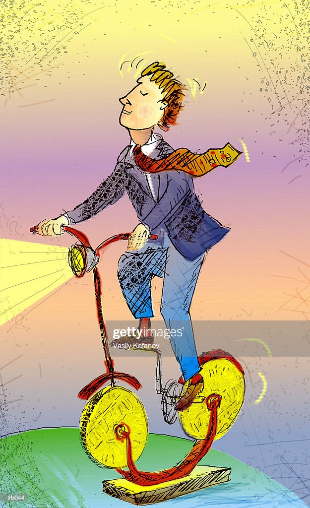 Man on Bike Made of Coins : Stockillustraties
