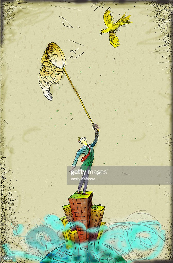 Man on Building with Net : Stock Illustration