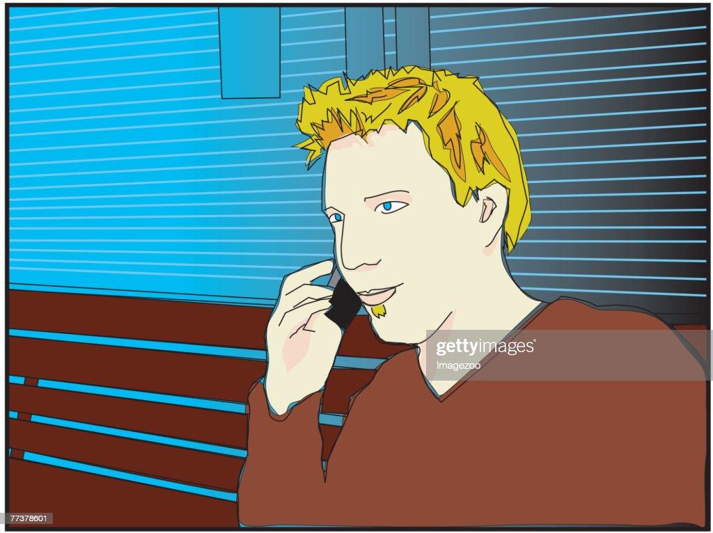 man on cell phone : Illustration