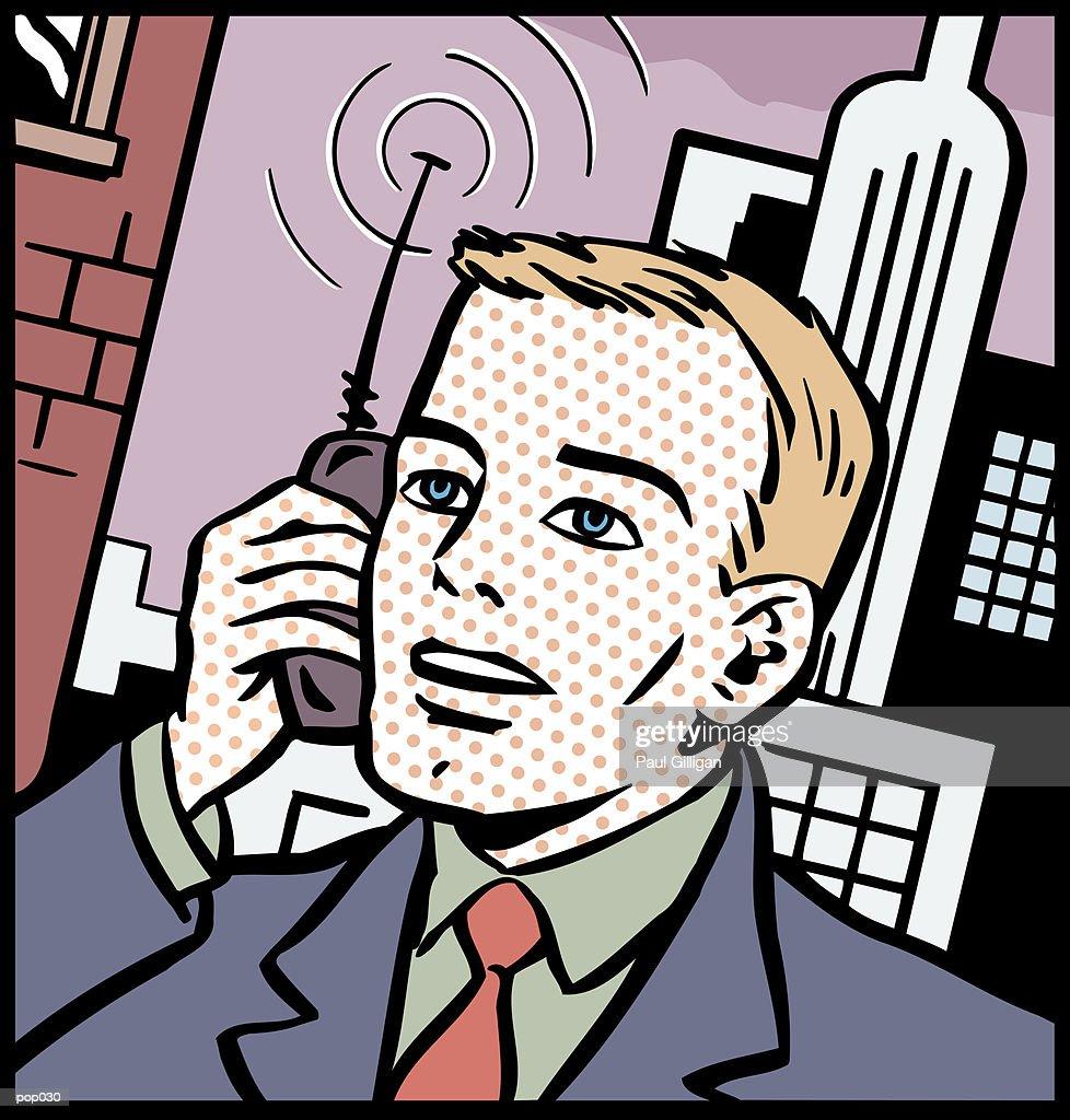 Man on Cell Phone : Stockillustraties