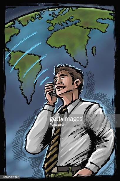 Man on cell phone with globe background
