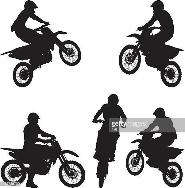 man on dirt bike motorcycle - motorcycle helmet isolated stock illustrations, clip art, cartoons, & icons