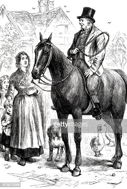 Man on horse visiting a family standing in front of the house