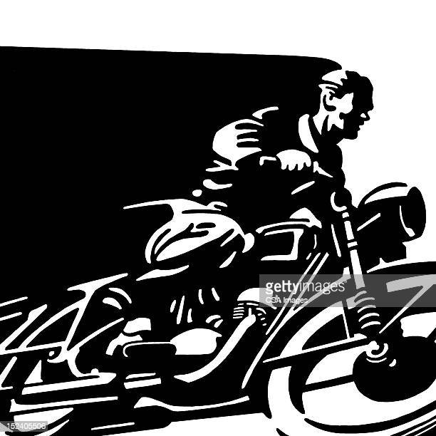 man on motorcycle - motorcycle rider stock illustrations, clip art, cartoons, & icons