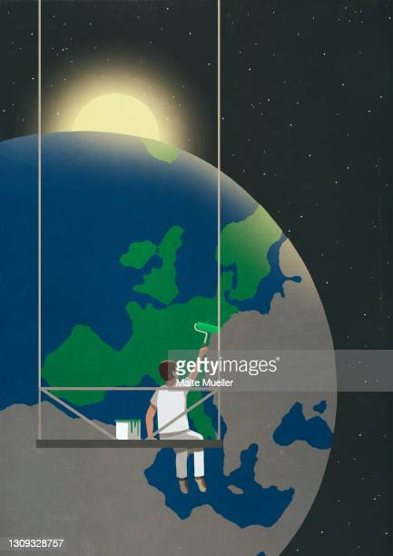 man on platform painting globe green - full length stock illustrations