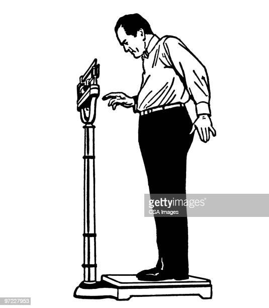 man on scale - body conscious stock illustrations, clip art, cartoons, & icons